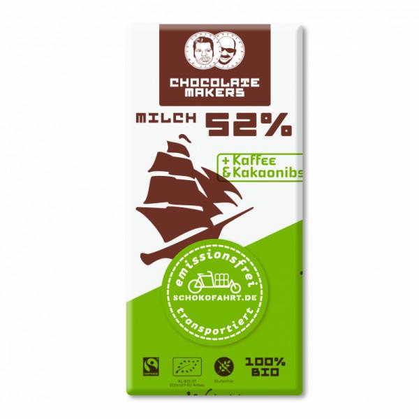 TRES HOMBRES Chocolate Bar 52% Kaffe & Kakaosplitter