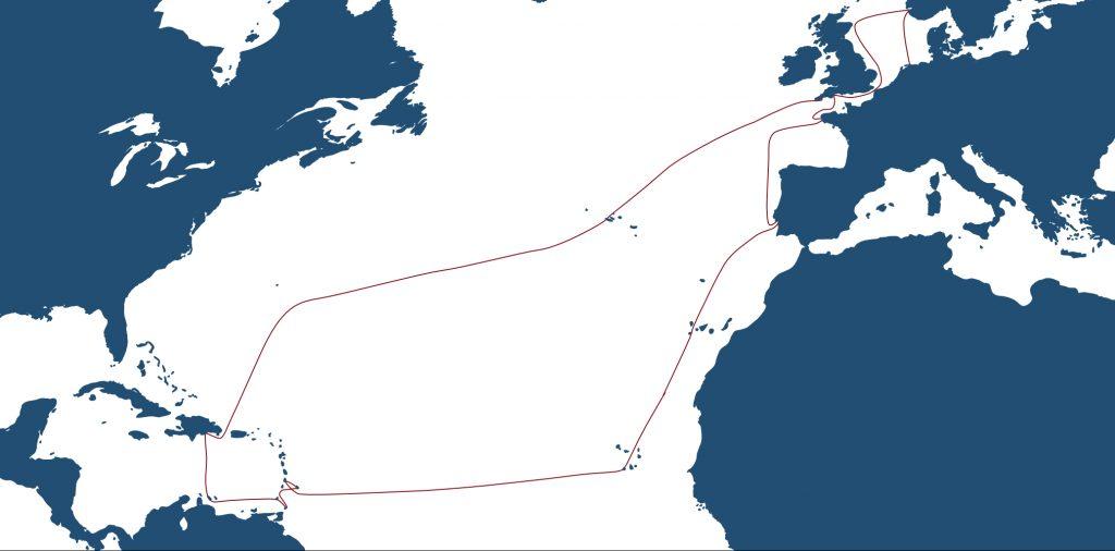 Karte meiner Reise auf der TRES HOMBRES. 1000 Meilen Wind